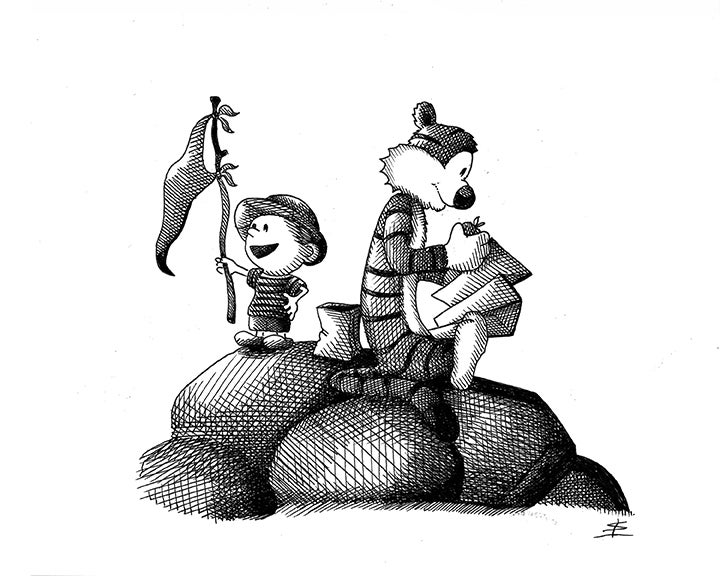 Image of Calvin and Hobbes 8x10 inking