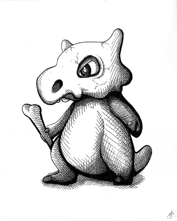 Image of Cubone 8x10 Inking