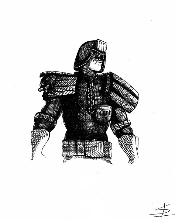 Image of Judge Dredd 8x10 Inking