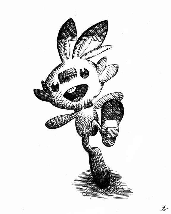 Image of Scorbunny 8x10 Inking
