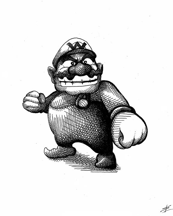 Image of Wario 8x10 Inking