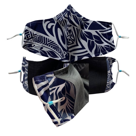 Image of FILAM ISLAND-VIBE FACE MASK - BLUE AND WHITE
