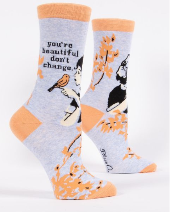 Image of You're Beautiful Don't Change Crew Socks