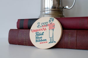 Image of Vintage Pabst Blue Ribbon Beer Coasters