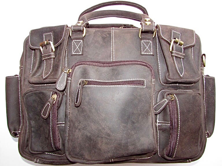 Image of Large Handmade Buffalo Hide Holdall - dark brown