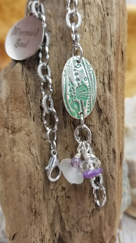 Image of Recycled Fine Silver- Handmade- Sea Glass- Bracelet- #364