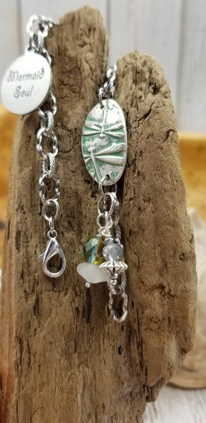 Image of Recycled Fine Silver- Dragonfly- Handmade- Bracelet- #366