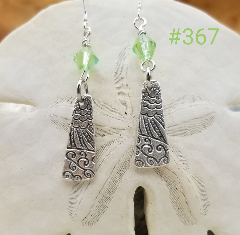 Image of Recycled Fine Silver- Handmade- Crystals- Earrings- #367