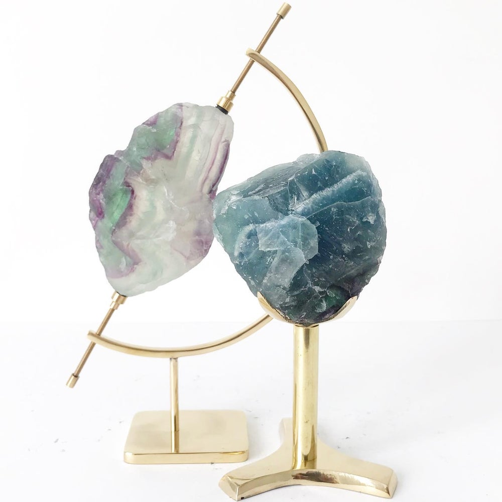 Image of Tricolor Fluorite no.05 + Brass Stand
