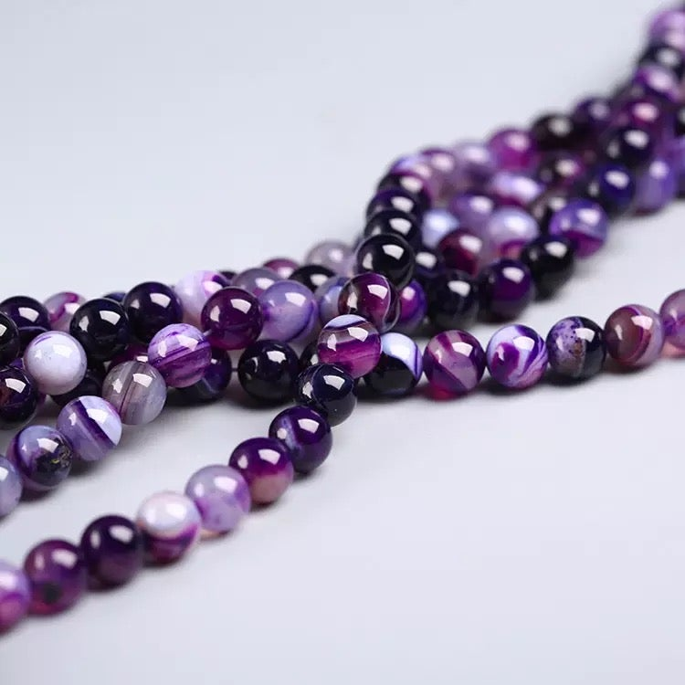 Image of Natural stone Purple agate loose beads