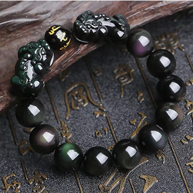 Image of Natural rainbow obsidian bracelet