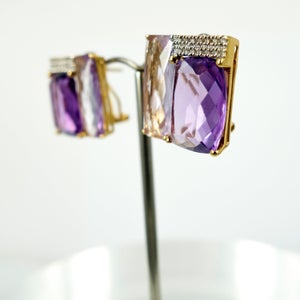 Image of M2129 - Purple and Pink Amethyst Stud earrings