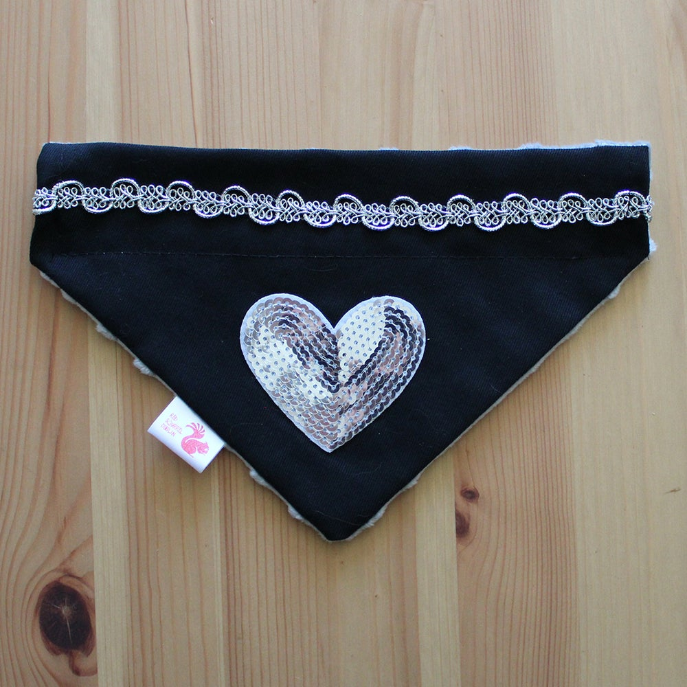 Image of Sequin heart patch dog bandana
