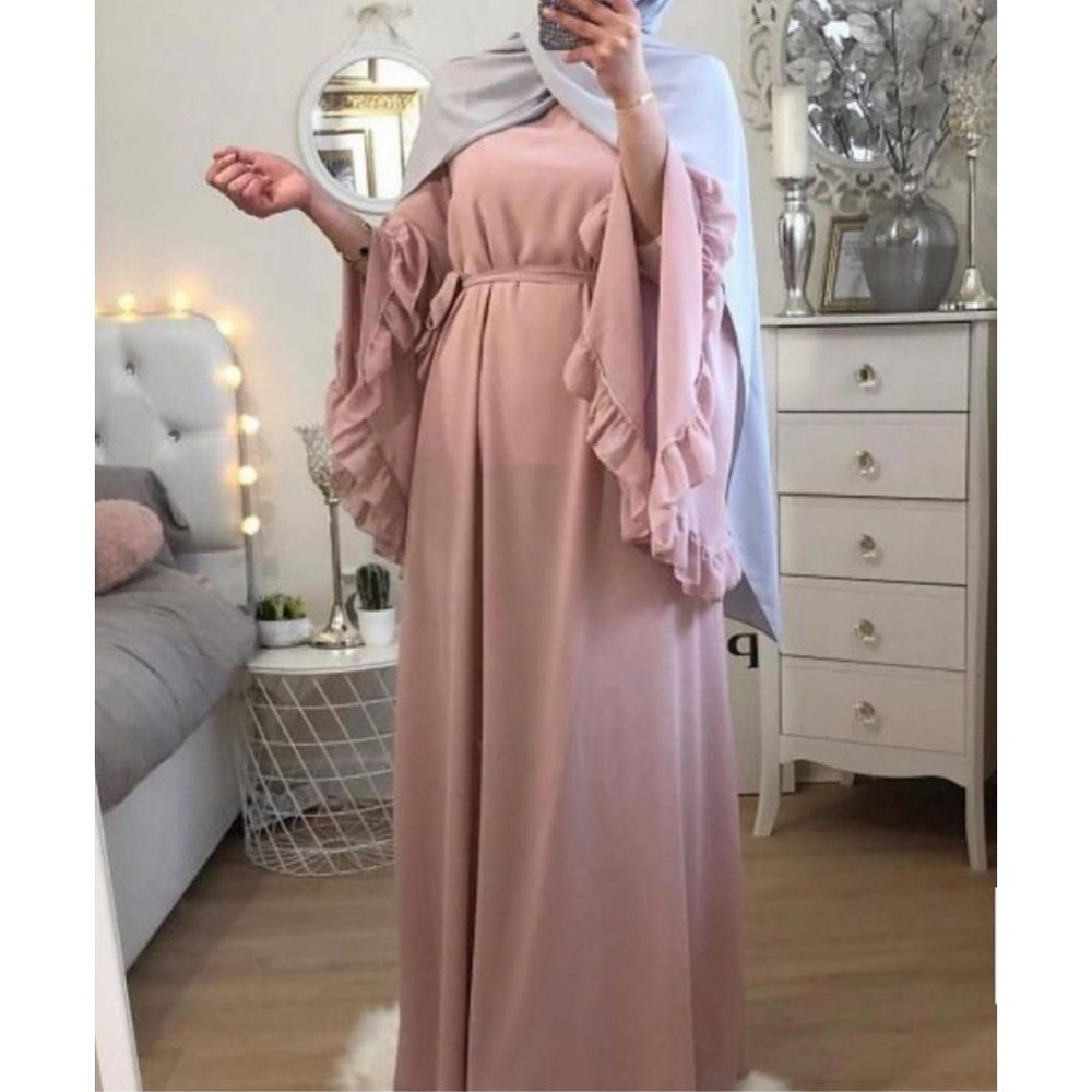 Image of Blush Pink Bell Sleeve Maxi Dress
