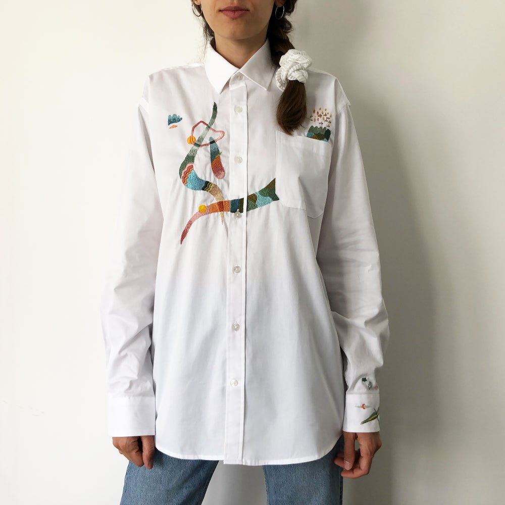 Image of The games we played when we were young - original hand embroidery on men's shirt, Unisex design