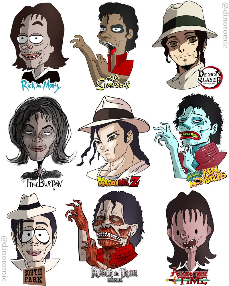 Image of # 224 Michael Jackson in 9 styles