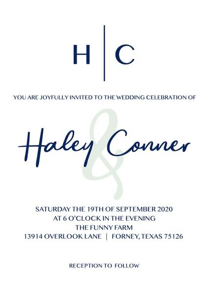 Image of Navy & Sage Wedding Invitations & Details Card