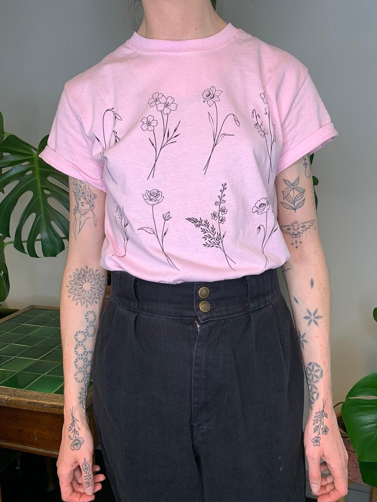 Image of Pink Birth flower T-shirt