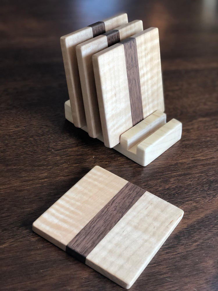 Image of Curley Maple Coasters With Stand