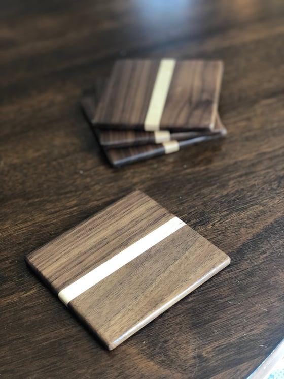 Image of Minimalist Walnut Coasters
