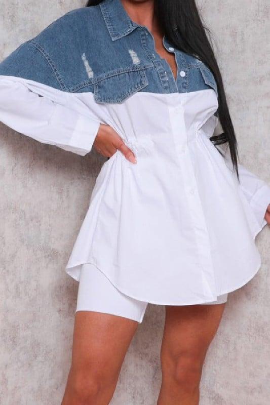 Image of Spliced Denim Dress