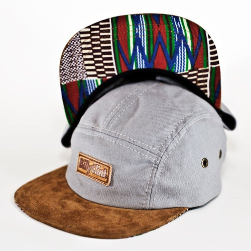 Image of Billy Clint 5-Panel Hat (Grey/Kente)