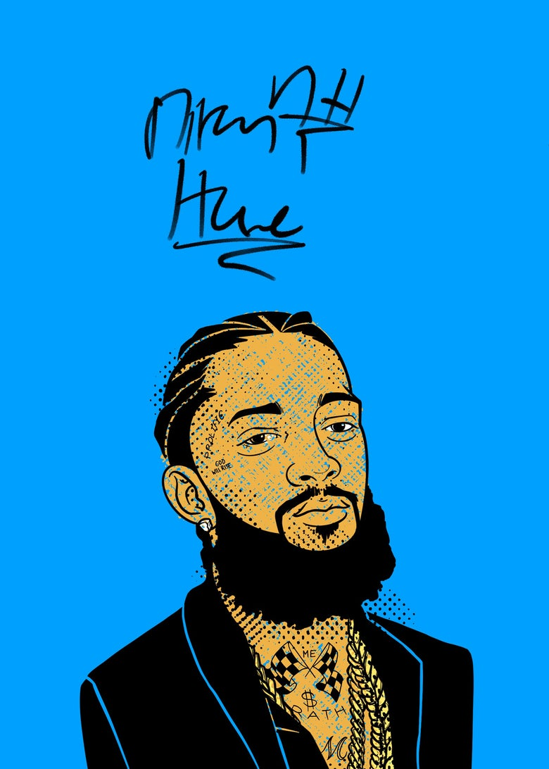 """Image of """"Sammie's Wall of Fame: Nipsey"""" 5x7 inch Print"""