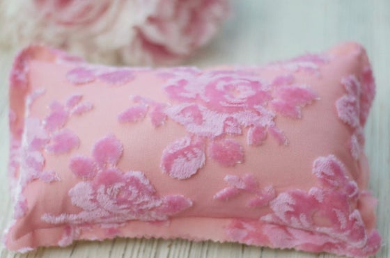 Image of 3D velvet floral pillow