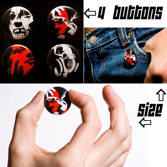 "Image of 4-pack of 1"" lastdeviant Illustration Buttons"