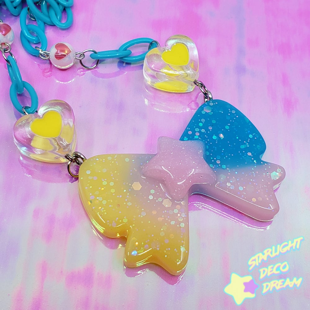 Image of Sugar Beauty Bow and Hearts Necklace / Rainbow Gradient with Pink Star