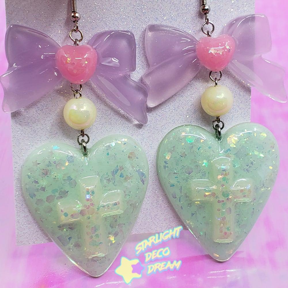 Image of Mint Heart Drop Pierce Earrings