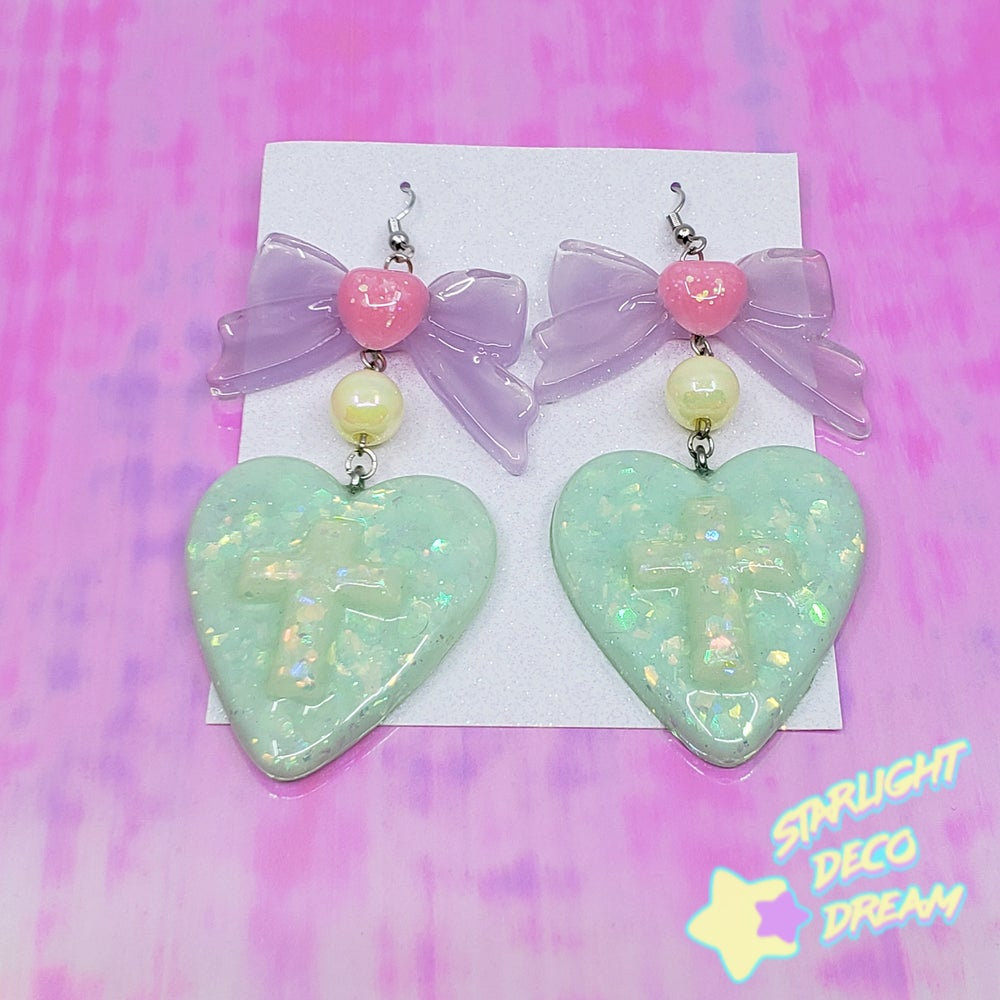 Image of Mint Heart Drop Pierce Earrings