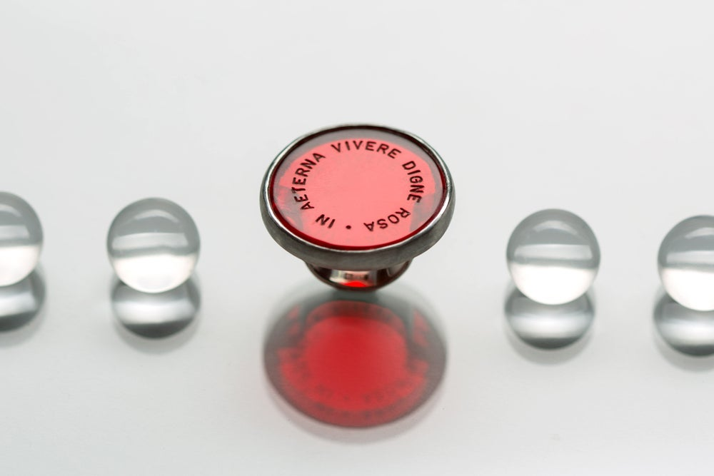 Image of silver ring with red plexiglas IN AETERNA VIVERE DIGNE ROSA