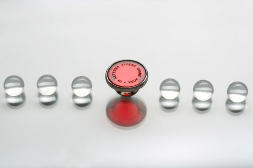 """Image of """"Worthy to live.."""" silver ring with red plexiglas · IN AETERNA VIVERE DIGNE ROSA ·"""