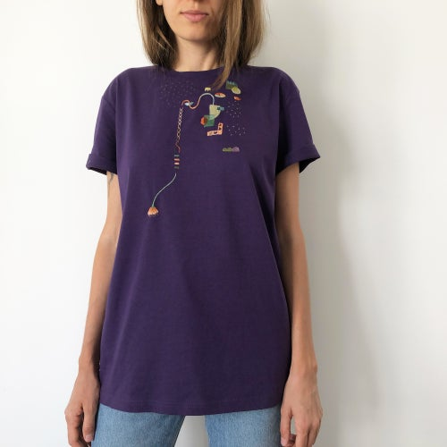 Image of The Alchemist of hearts - hand embroidered organic cotton t-shirt, Unisex, size Medium