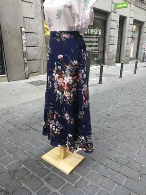 Image of Falda pareo azul estampado flores
