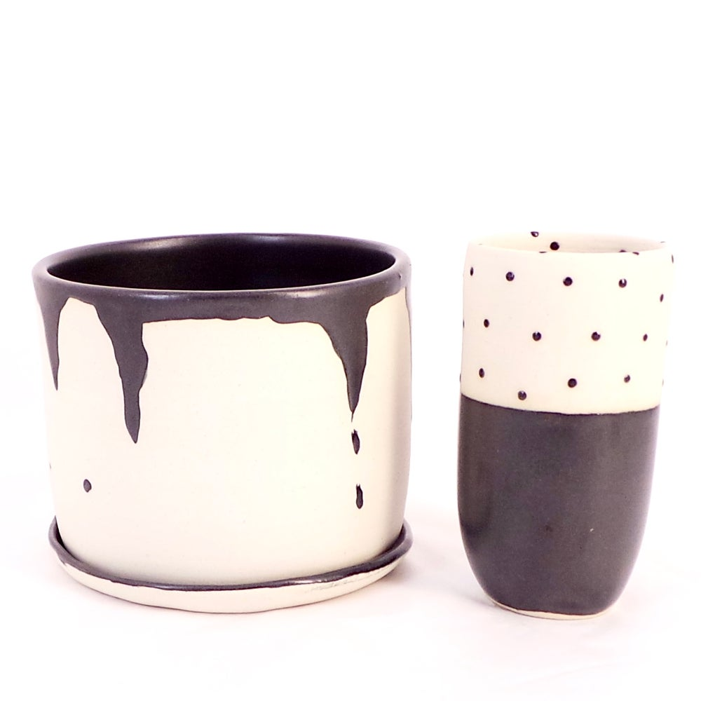 Image of Black and white planter and bud vase