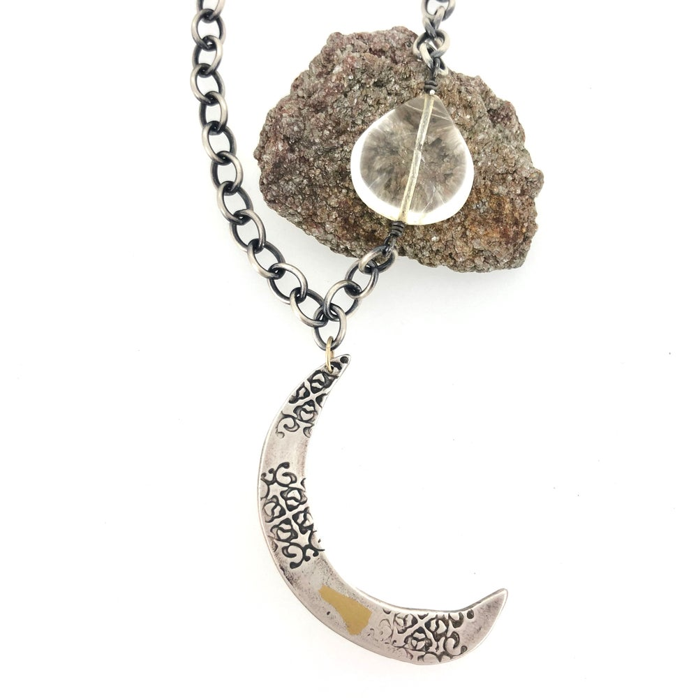 Image of Crescent moon necklace in sterling and 23k gold with 42 carat citrine