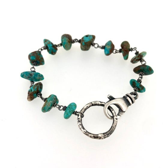Image of Fox mine turquoise bracelet with twig circle closure