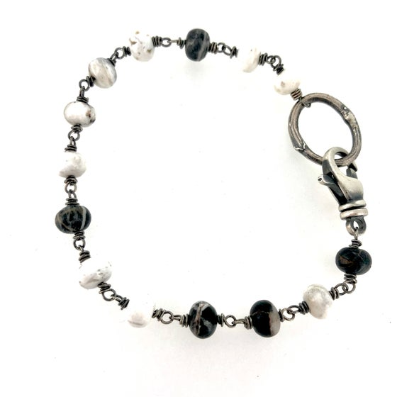 Image of White Buffalo bracelet with twig circle closure
