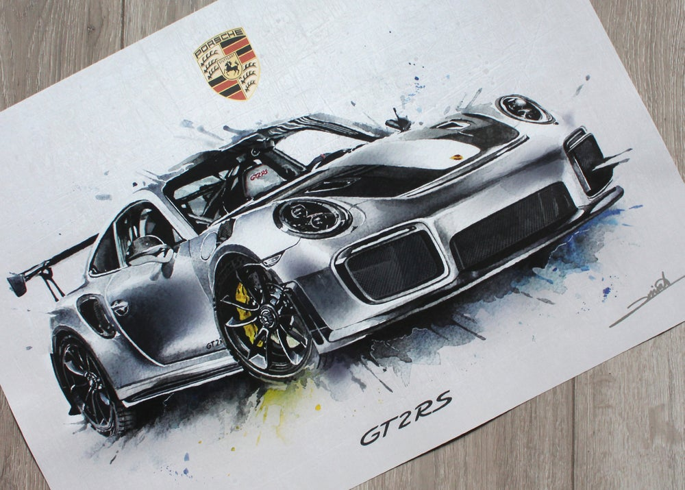 Image of Porsche 911 GT2 RS Watercolour Poster Print