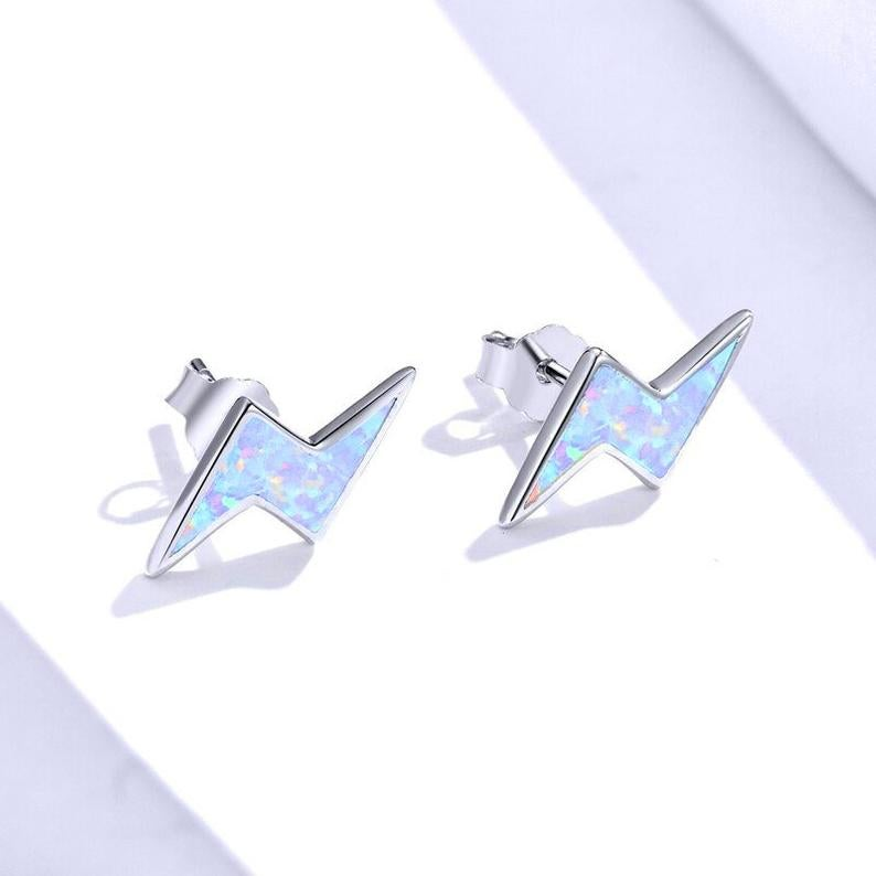 Opal Lightning Bolt Stud Earrings (925 Silver)