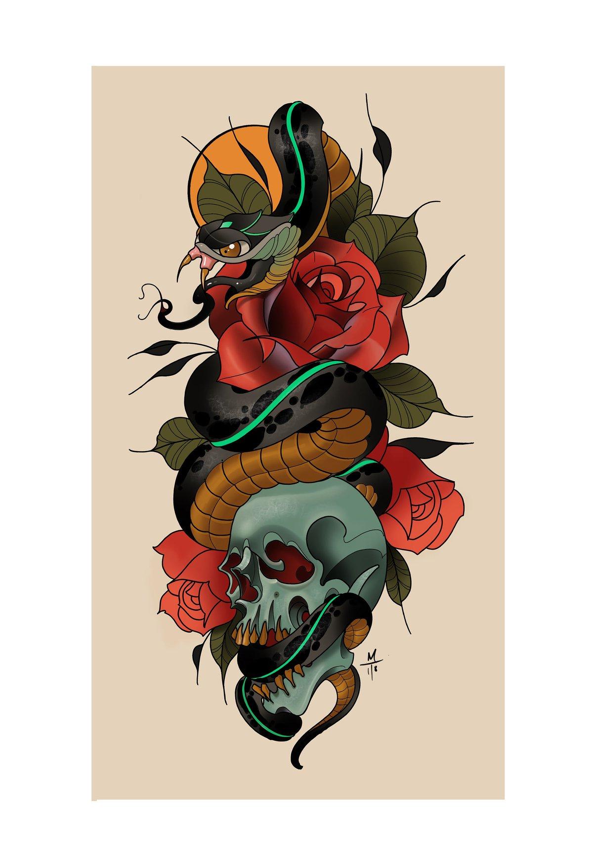 Snake skull and rose