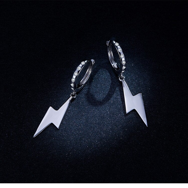 Lightning Bolt Cubic Zircon Earrings (925 Silver)