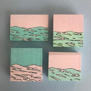 Image of Waves Block Paintings