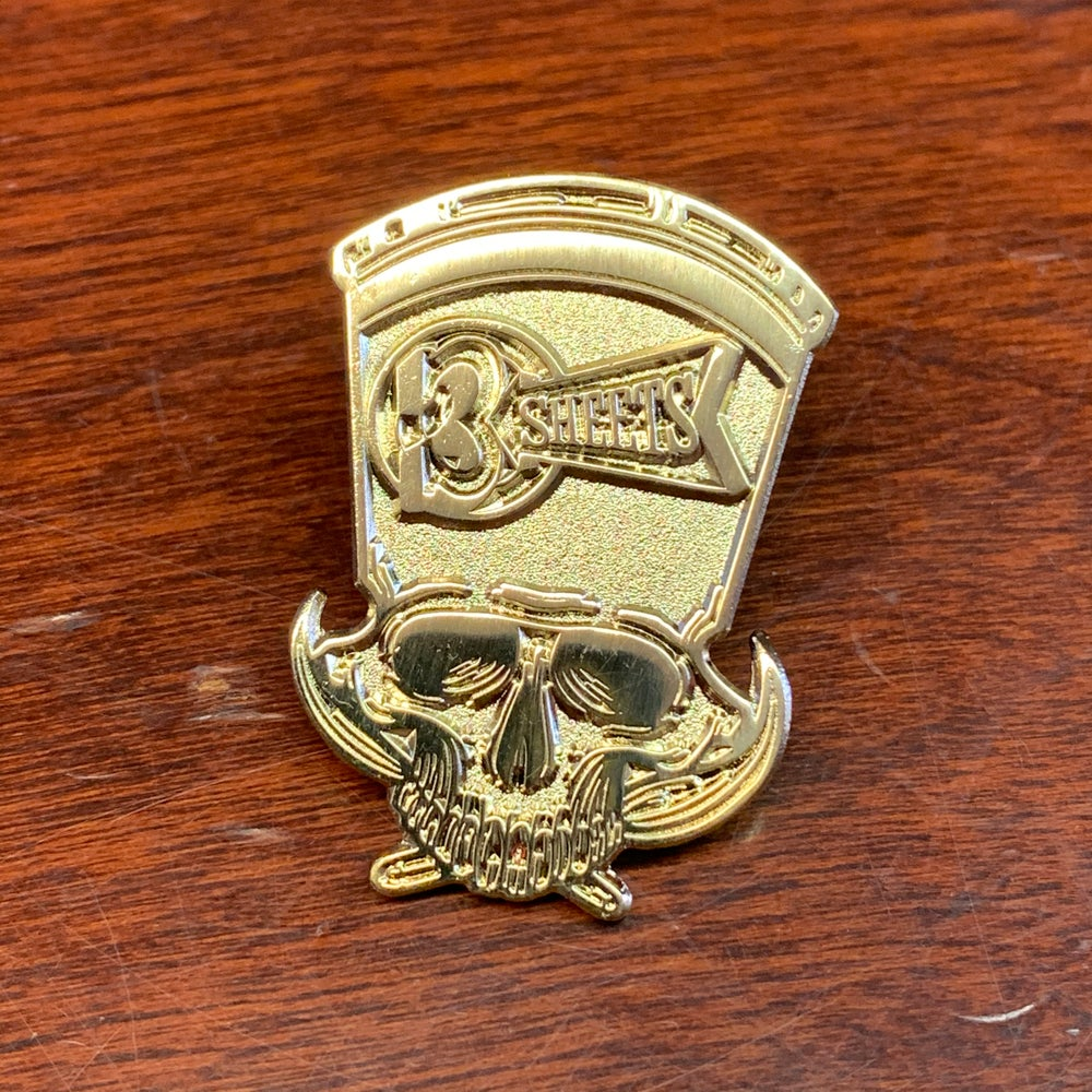 3S 1-Shot Skull Polished Gold Pin