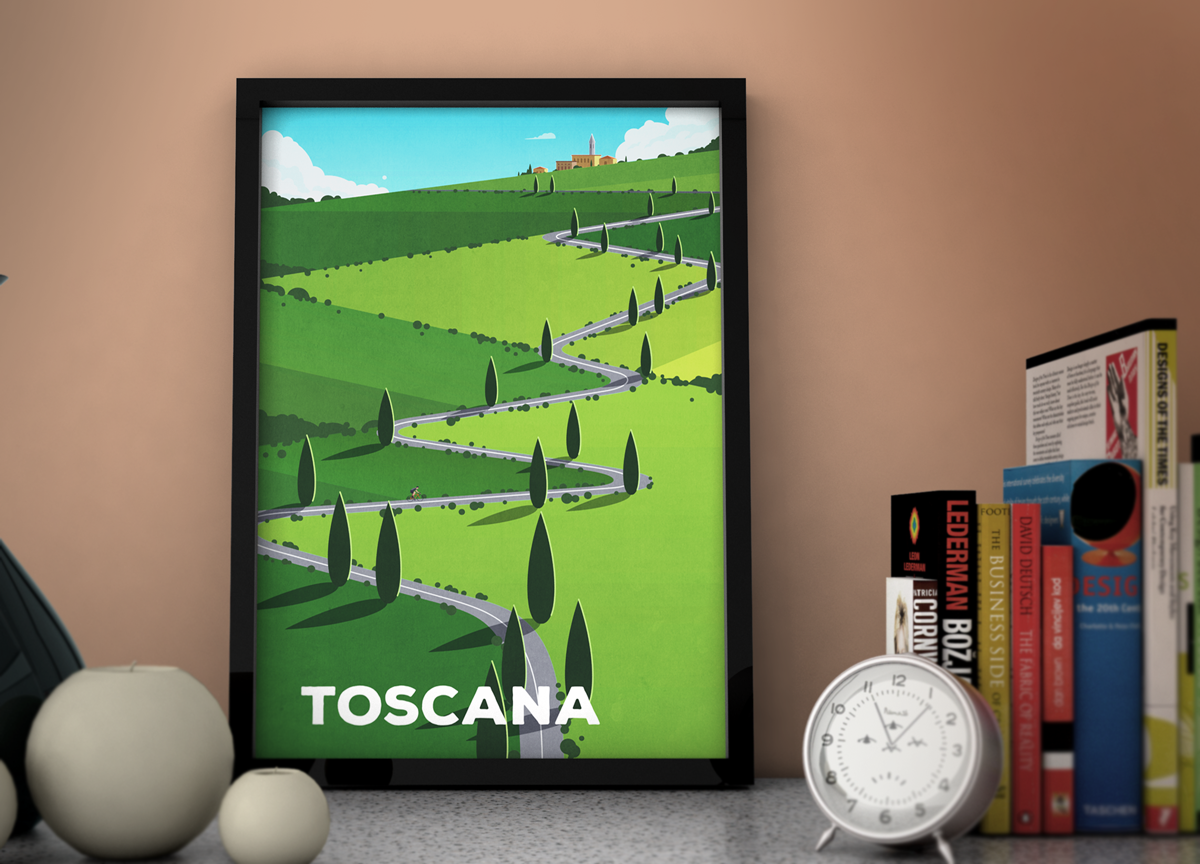 Cycling Print - Toscana