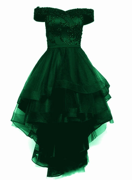 Green Tulle Lace with Tulle High Low Homecoming Dress, Short Party Dress