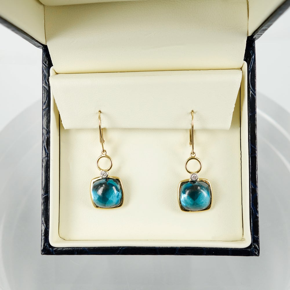 Image of M3139 - 9ct yellow gold diamond and Blue Topaz earrings