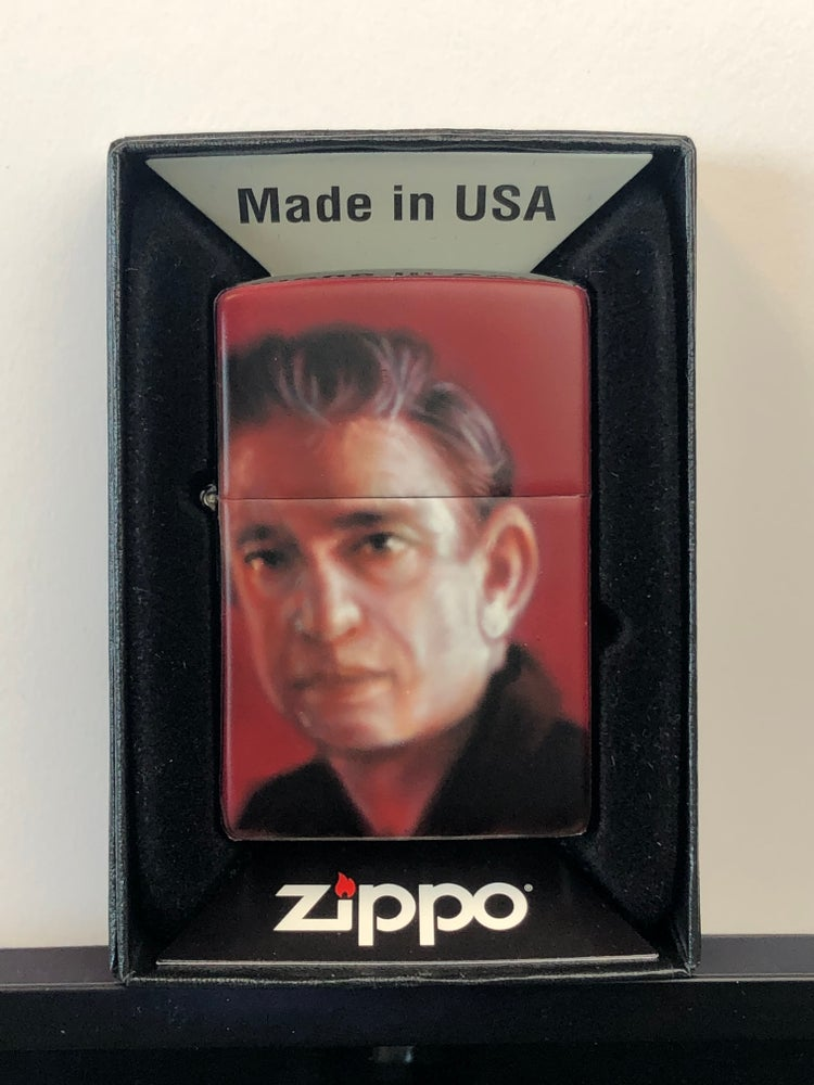 Image of Airbrushed Zippo (Young Johnny Cash)